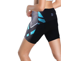 Dotted Blue Womans Shorts UPF 50+ Spandex Yoga Tight Running Riding Gear Summer Fitness Wear Sports Clothes Hiking Courtgame Apparel Quick dry Breathable -With Pocket Design NO. 862 -  Cycling Apparel, Cycling Accessories | BestForCycling.com