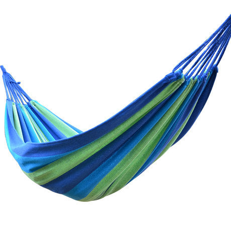 One/Two Person Large Outdoor Striped Canvas Hammock - Camping Travel Beach Backyard Garden Holiday Leisure Swing Tree Bed Safe Anti-tear with 2 Straps and Carry Bag Blue/Red
