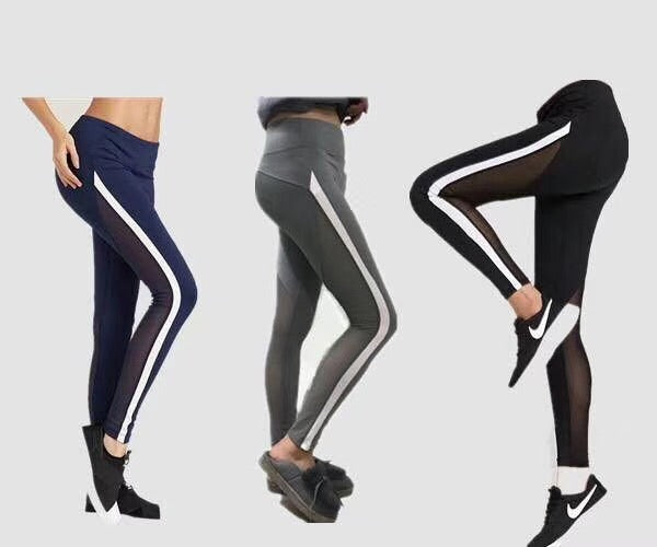 Women Strip Side Mesh Yoga Jogger Sports Pants Workout Tights LA01