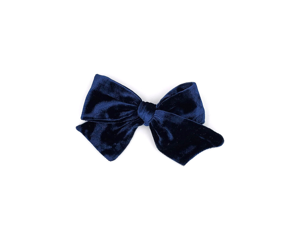 swiss blue velvet handmade bow