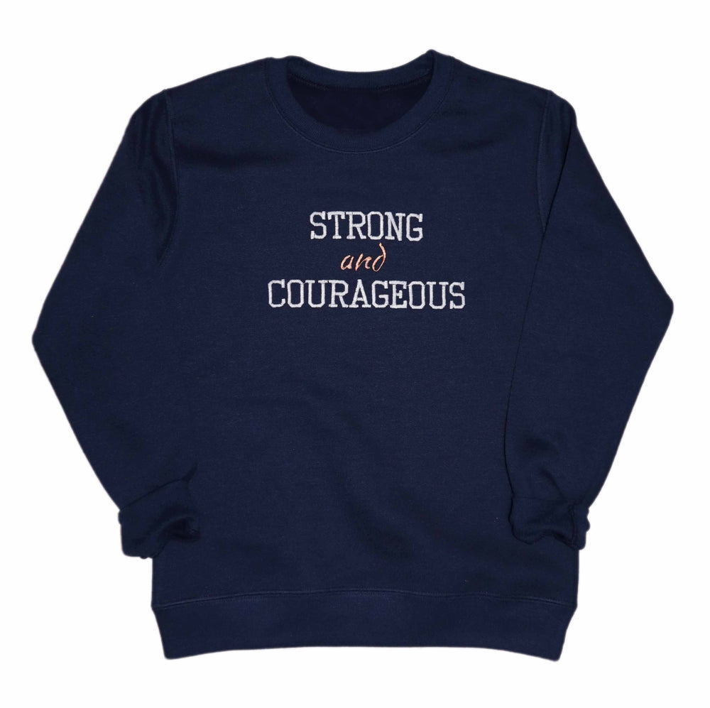 Strong and Courageous Kids Embroidered Sweatshirt