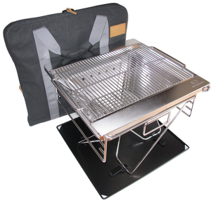 Red Roads Fire Pit Blaze-n-BBQ Grill Combo with Bag