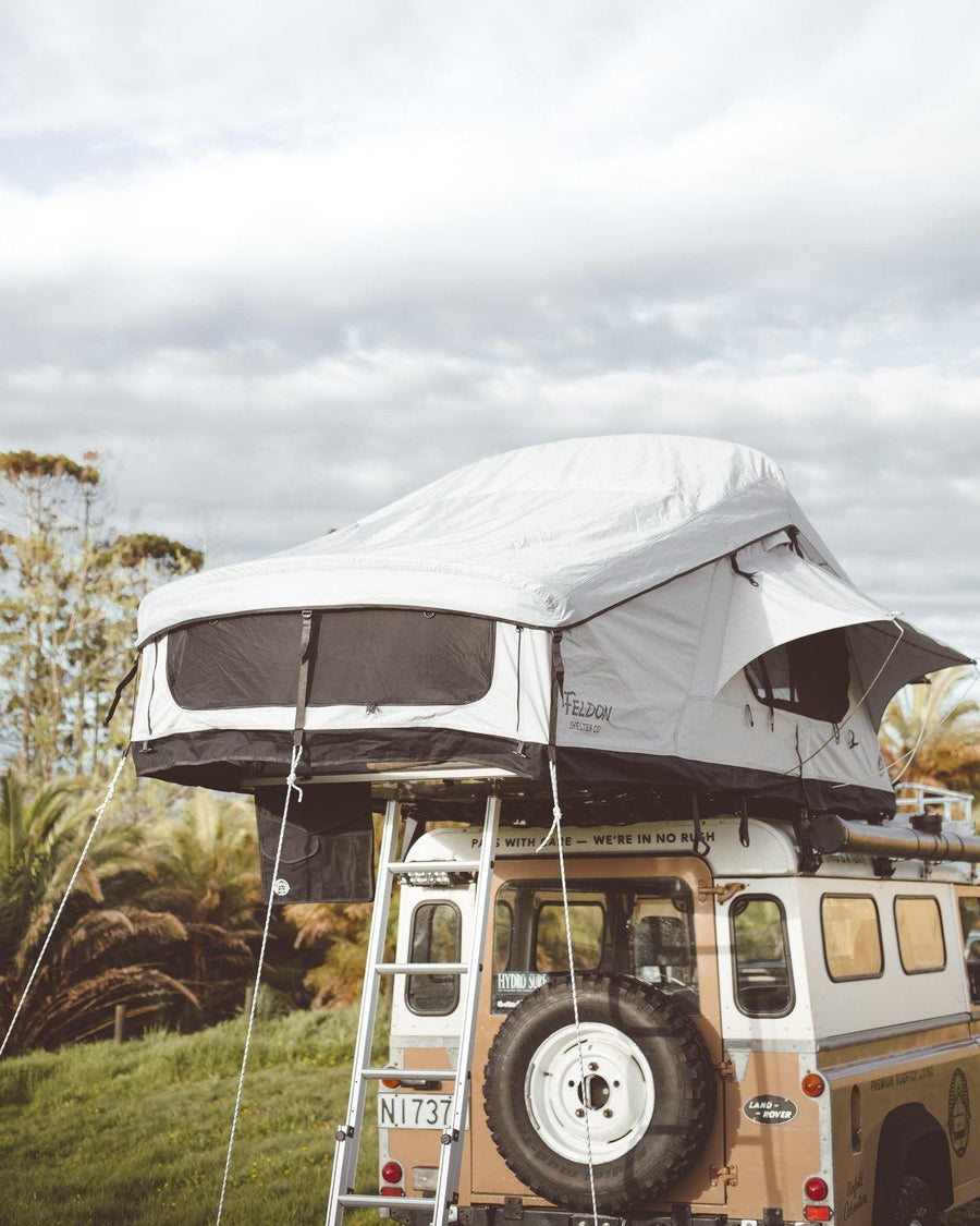 Feldon Shelter Rooftop Tent Crow's Nest Extended Coal Black Adventure Merchants Australia