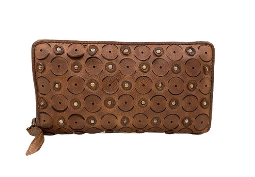 FULL GRAIN Paisley wallet - Cognac