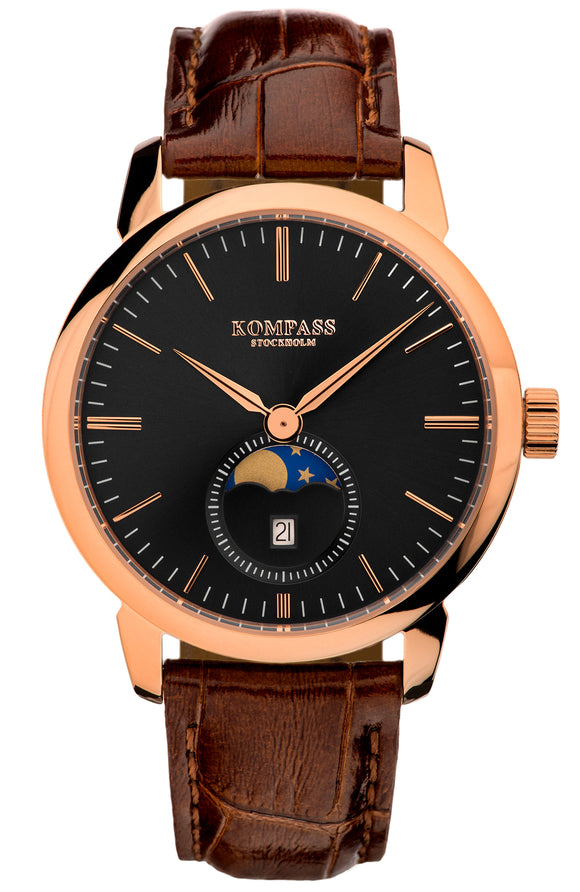 KOMPASS GRAND MOON PHASE BLACK DIAL BROWN STRAP