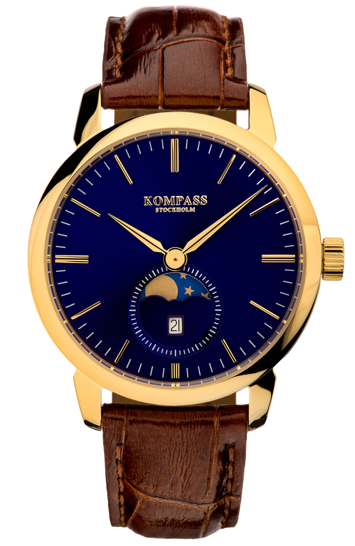KOMPASS GRAND MOON PHASE BLUE DIAL BROWN STRAP