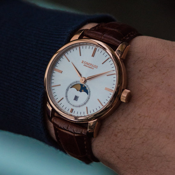 KOMPASS GRAND MOON PHASE SILVER DIAL BROWN STRAP