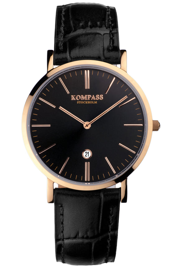 KOMPASS NAUTILUS LADIES ROSE GOLD BLACK DIAL BLACK STRAP