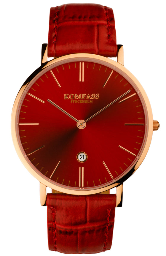 KOMPASS NAUTILUS ROSE GOLD RED DIAL RED STRAP