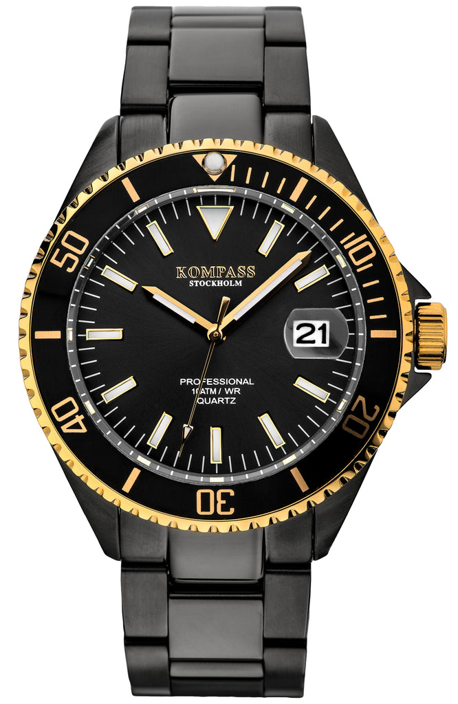 KOMPASS PROFESSIONAL DIVER NERO GOLD