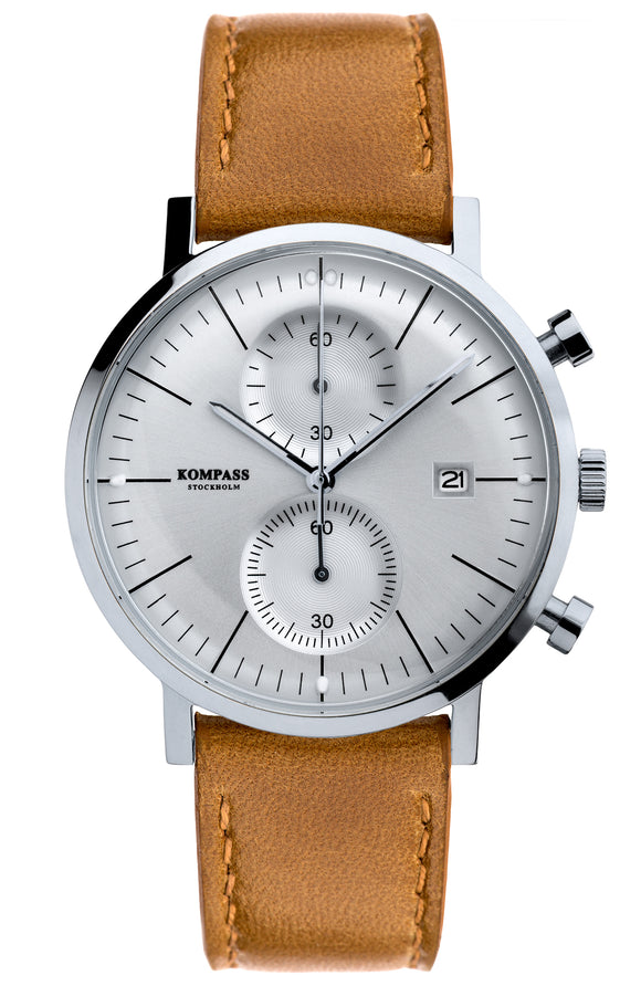 KOMPASS SUPER DOME SILVER DIAL TAN STRAP