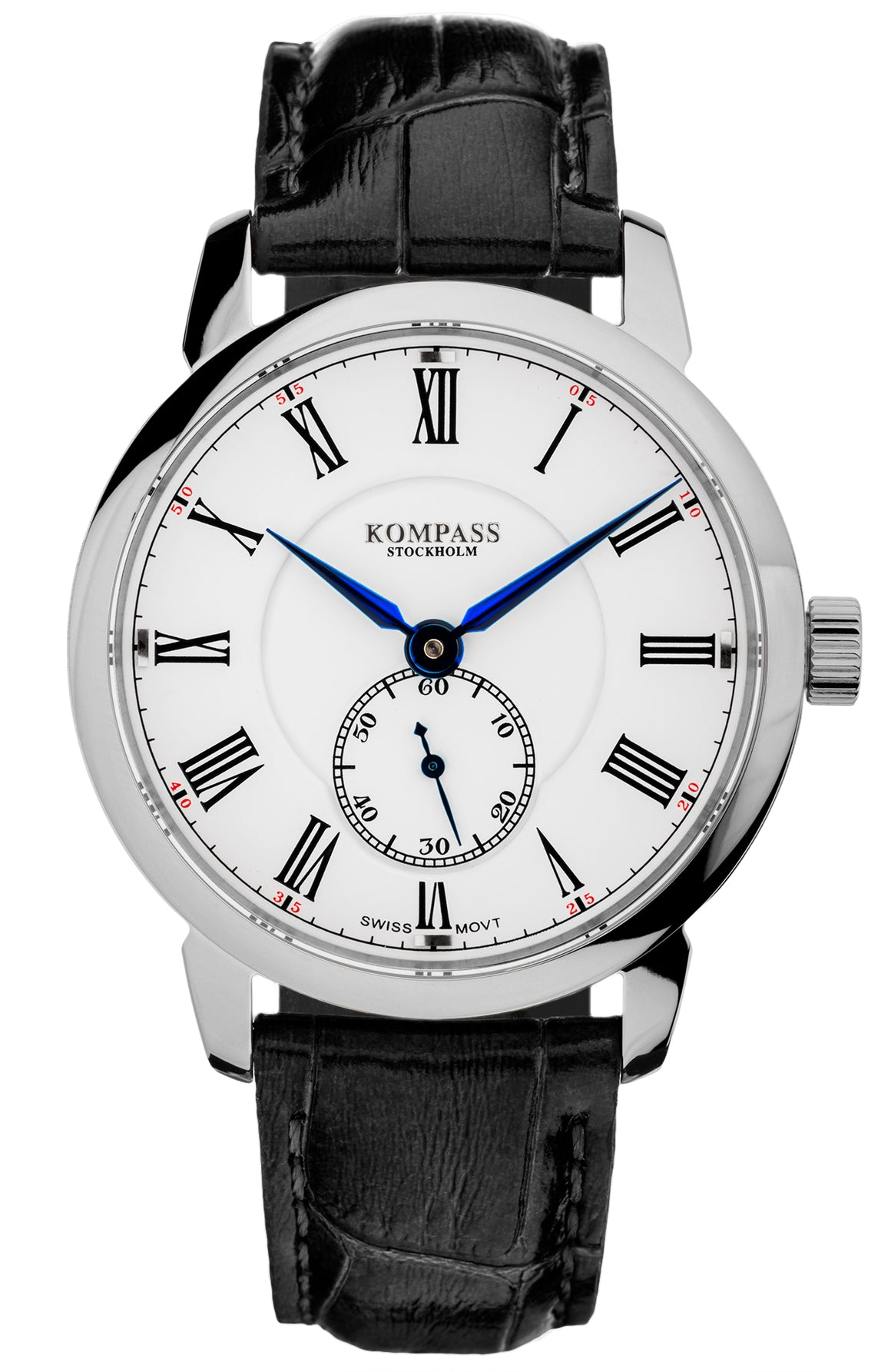 KOMPASS GRAND MASTER RHODIUM WHITE DIAL BLACK STRAP