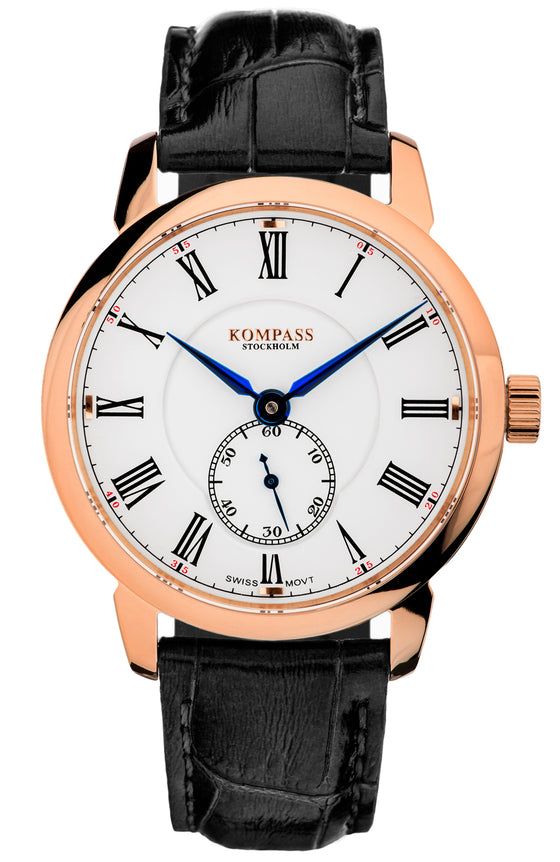 KOMPASS GRAND MASTER ROSE GOLD WHITE DIAL BLACK STRAP