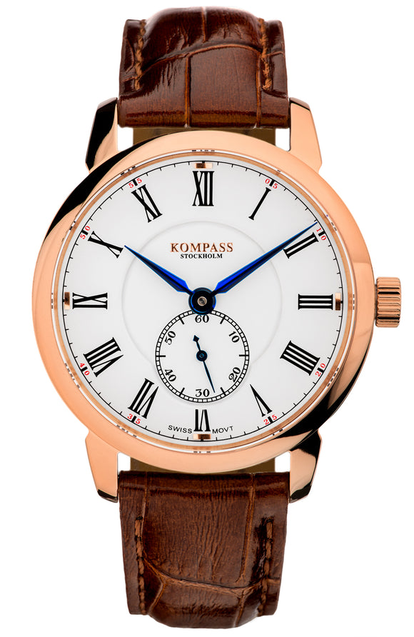KOMPASS GRAND MASTER ROSE GOLD WHITE DIAL BROWN STRAP
