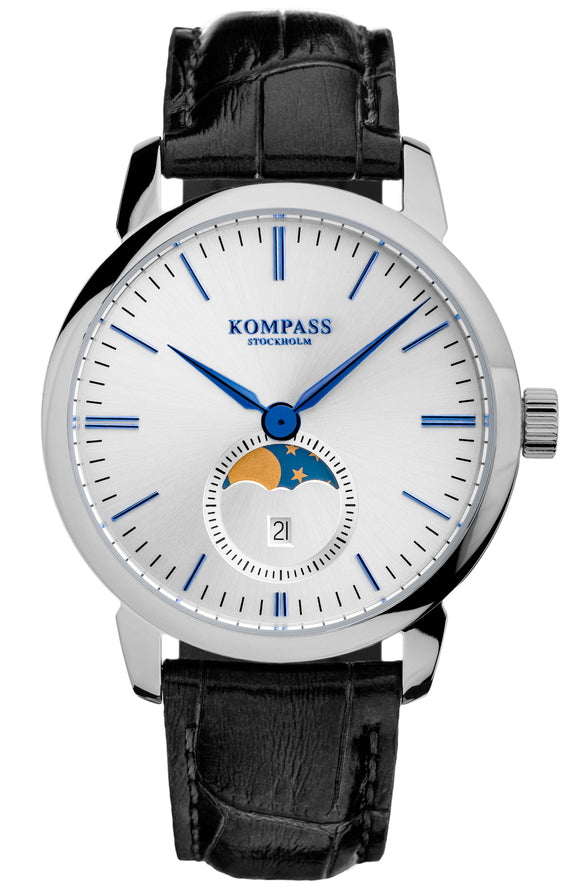 KOMPASS GRAND MOON PHASE SILVER DIAL BLACK STRAP