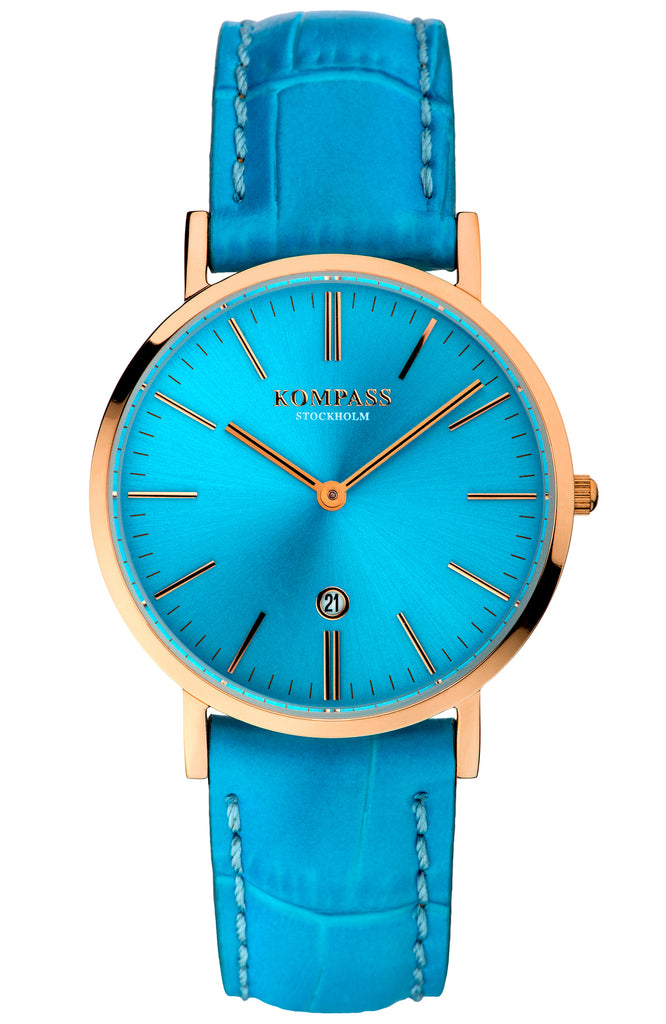 KOMPASS NAUTILUS LADIES ROSE GOLD LIGHT BLUE DIAL LIGHT BLUE STRAP