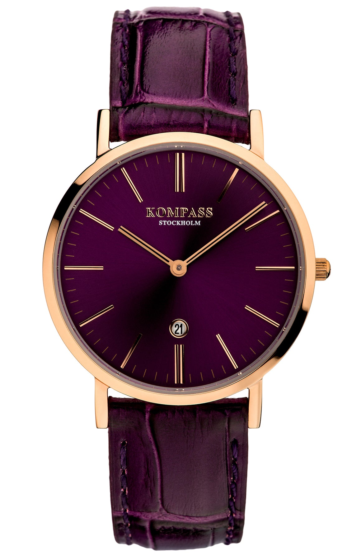 KOMPASS NAUTILUS LADIES ROSE GOLD PURPLE DIAL PURPLE STRAP