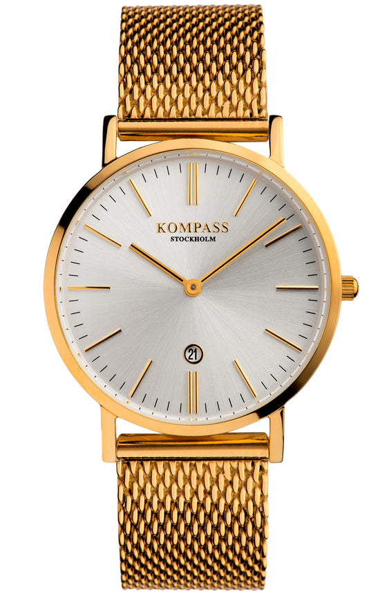 KOMPASS NAUTILUS LADIES MESH STRAP GOLD