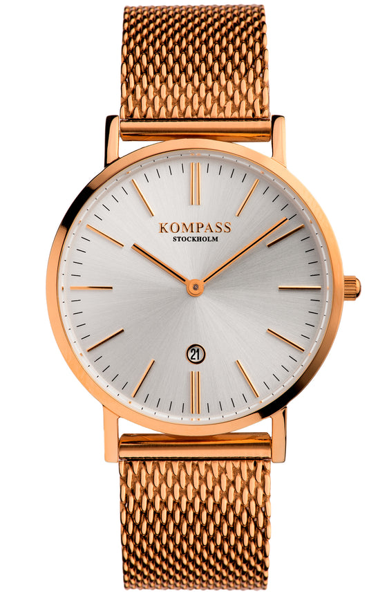 KOMPASS NAUTILUS LADIES MESH STRAP ROSE GOLD