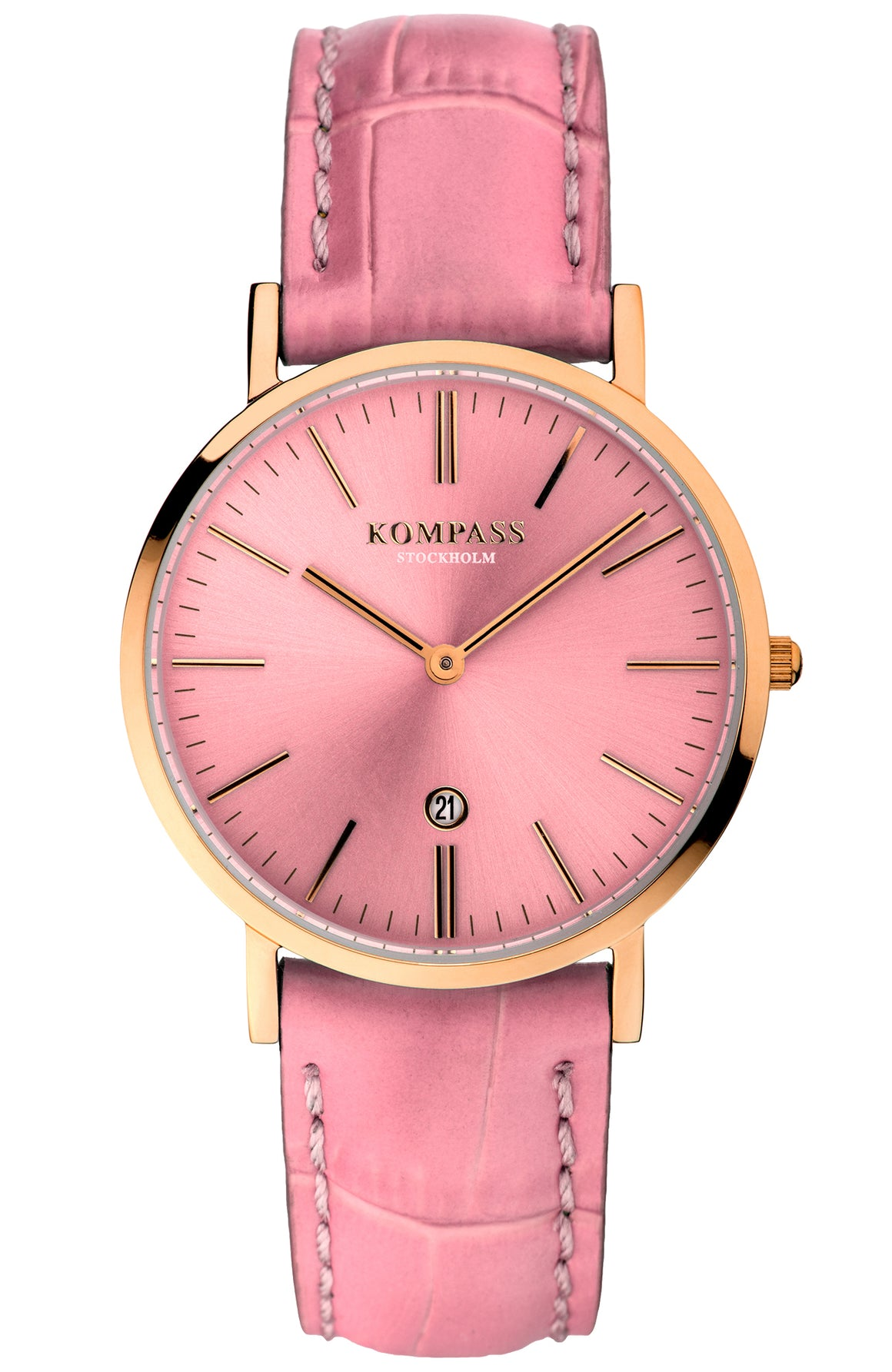 KOMPASS NAUTILUS LADIES ROSE GOLD PINK DIAL PINK STRAP