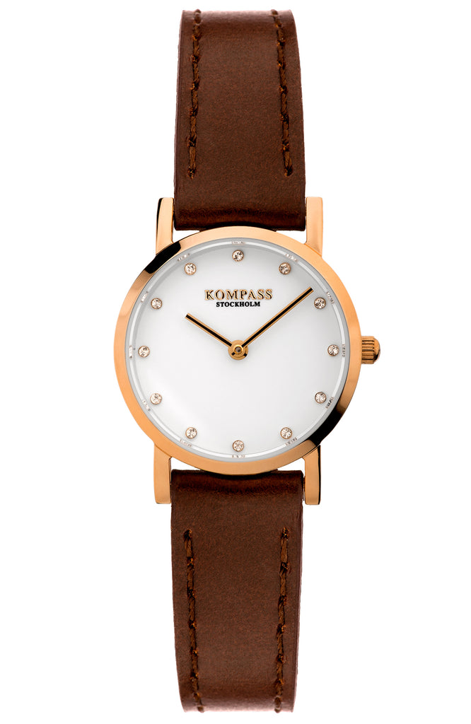 KOMPASS NAUTILUS PETITE ROSE GOLD BROWN STRAP