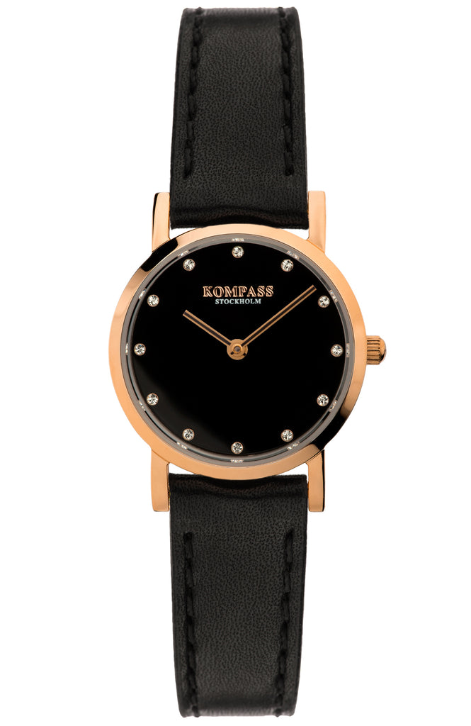KOMPASS NAUTILUS PETITE ROSE GOLD BLACK STRAP