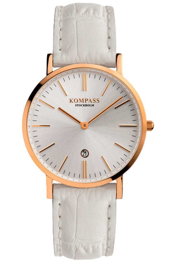 KOMPASS NAUTILUS LADIES ROSE GOLD SILVER DIAL WHITE STRAP
