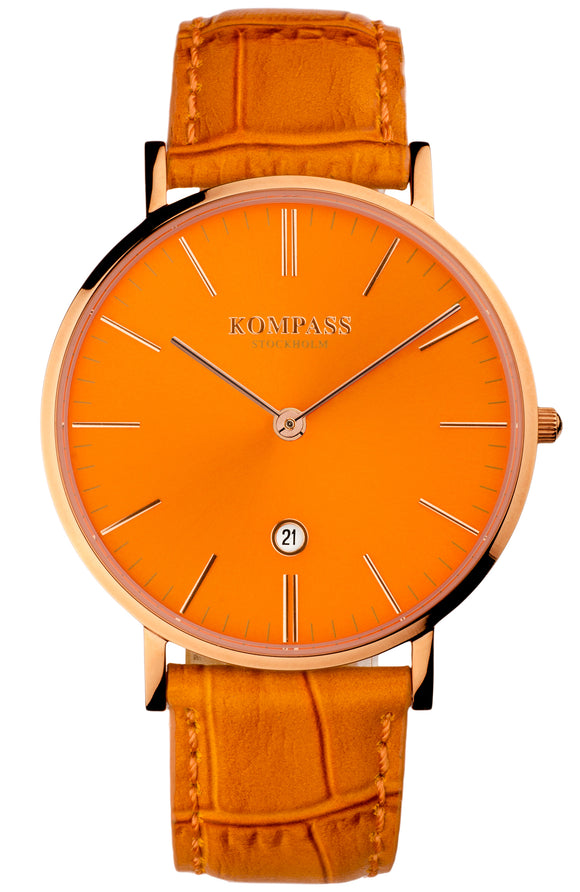 KOMPASS NAUTILUS ROSE GOLD ORANGE DIAL ORANGE STRAP