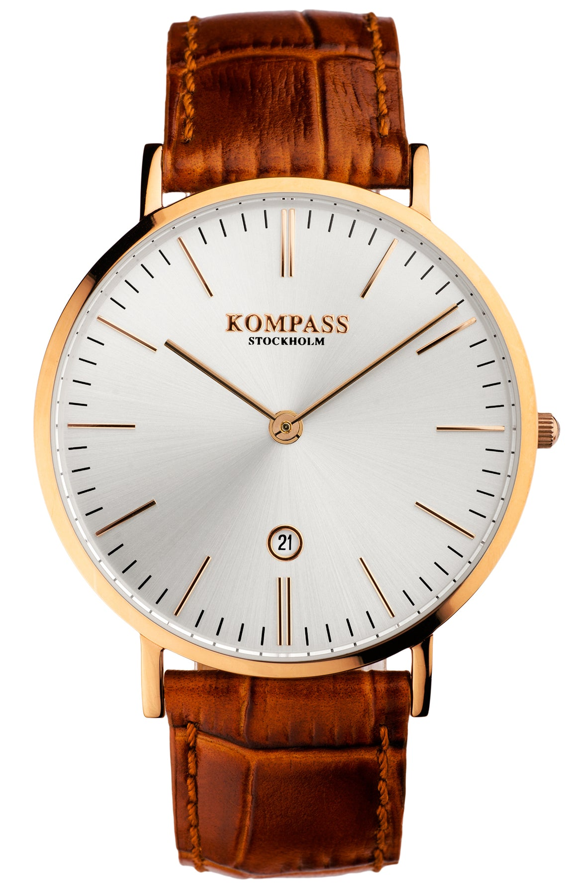 KOMPASS NAUTILUS ROSE GOLD SILVER DIAL BROWN STRAP