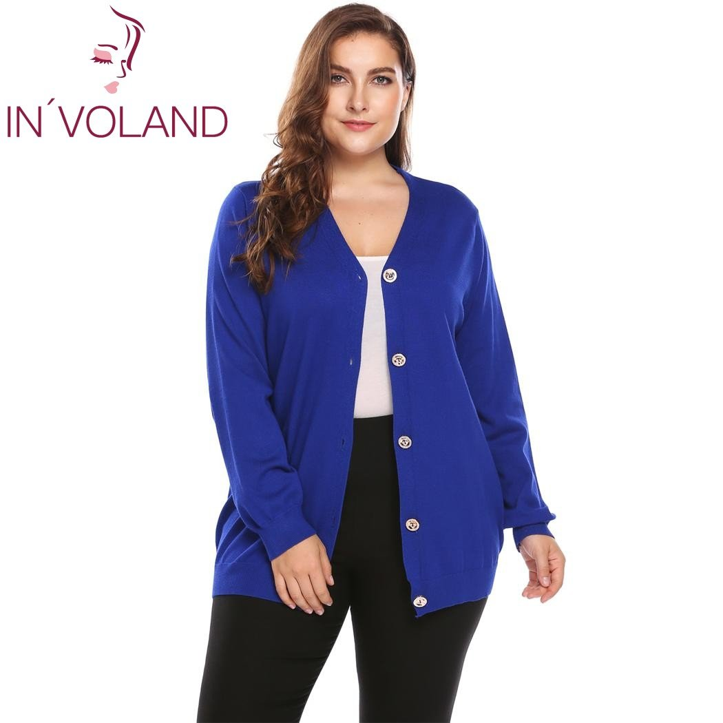 IN VOLAND Big Size Women Sweater Coat Autumn Casual Long Sleeve Button  Solid Large Jumper 02d5cbfd917b