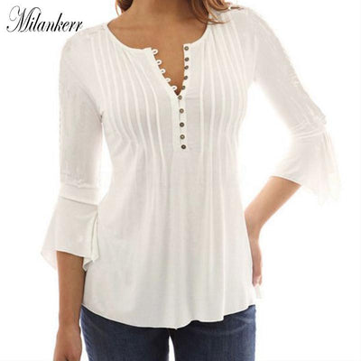 04e1df5871d16b Elegant V-Neck Splice 3/4 Flare Sleeve Button Blouse Shirts Sexy Tops Casual