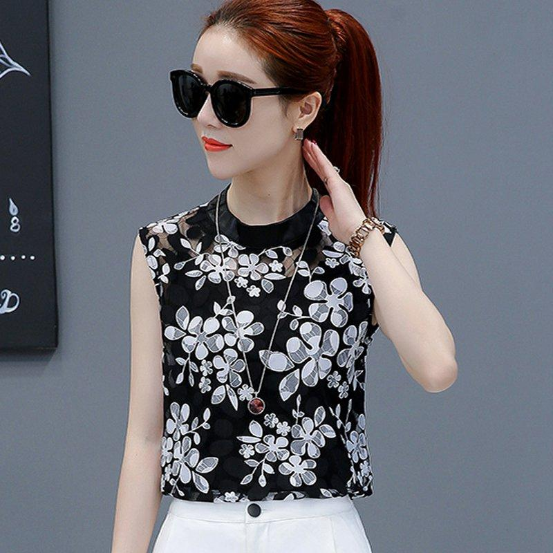 f009c22eeb53 New 2017 Summer Black Lace Blusas Women s Hollow Out Mesh Tops Elegant  Sleeveless Feathers Shirts Feminine
