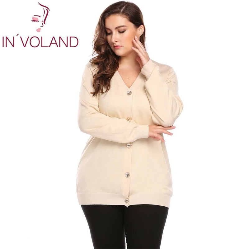 IN VOLAND Big Size Women Sweater Coat Autumn Casual Long Sleeve Button  Solid Large Jumper Basic Soft Cardigan Tops Plus Size 0ee8e9029ed0