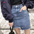 RZIV 2017 female jeans skirt casual solid color metal ring decorated irregular denim skirt