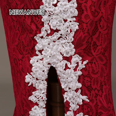 Red and White Lace Mermaid Prom Dress Side Slit Long Mermaid Formal Evening  Dress Illusion Back f6a56fef5bc3