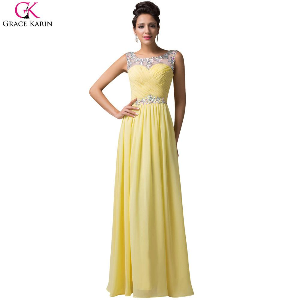Yellow Bridesmaid Dress Robe Demoiselle D honneur Grace Karin Open Back  Chiffon Long Red Formal 953d962fd4a7