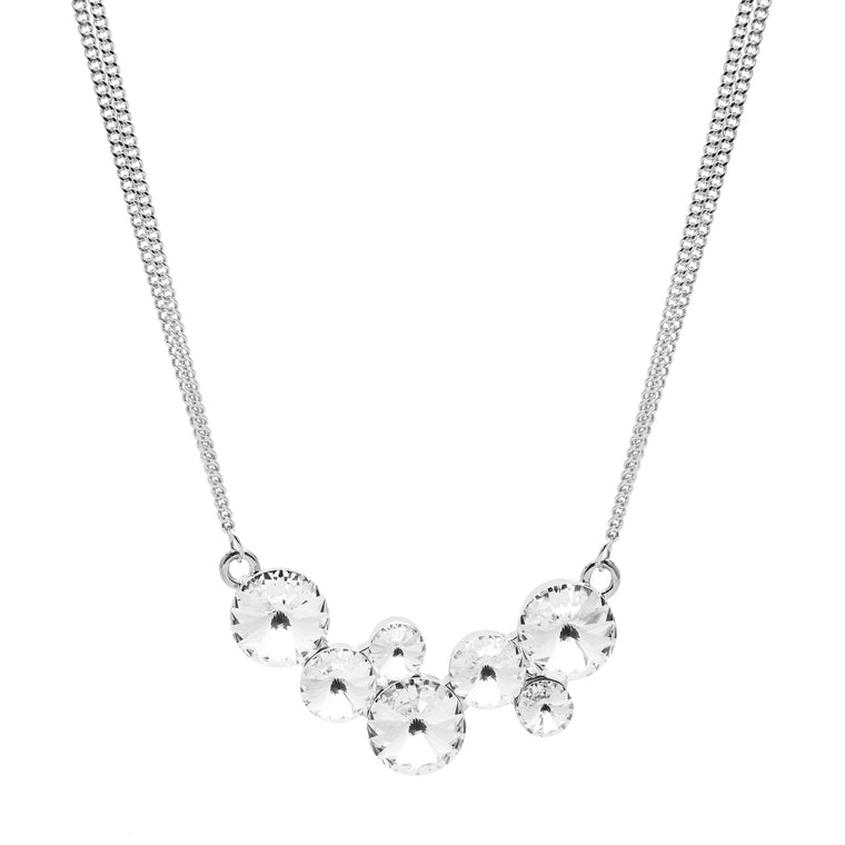 Aura 18k White Gold Plated Necklace with 7 Crystals from Swarovski¨