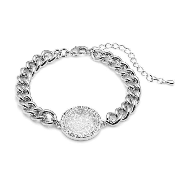 Aura Silver Plated Medallion Pendant Bracelet with Aurora Borealis Crystals from Swarovski¨ - Harpson Accessories