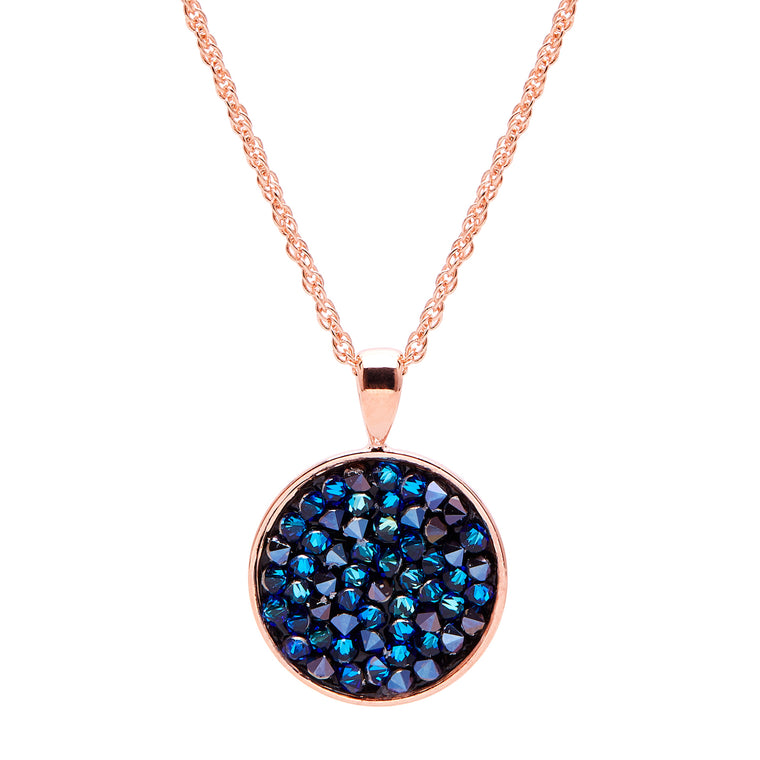 Aura 18k Rose Gold Plated Lariat Pendant Necklace with Bermuda Blue Crystal Rocks from Swarovski¨
