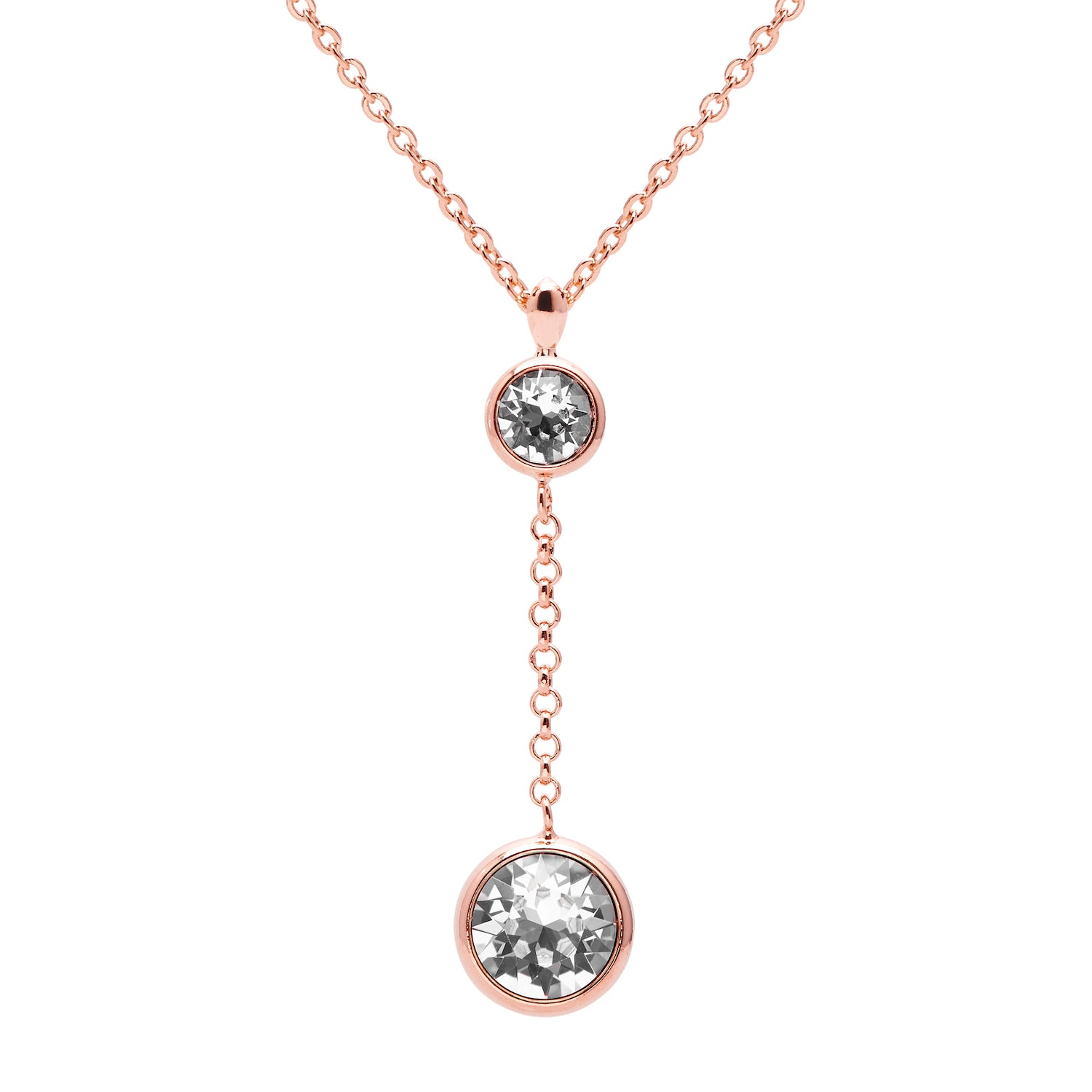 "Aura ""Evening"" 18k Rose Gold Plated Swarovski Crystal Drop Chain Pendant Necklace, 15.5"" with 2"" extender - Harpson Accessories"