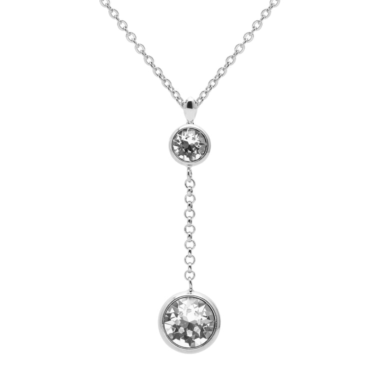 Aura 18k White Gold Plated Drop Chain Pendant Necklace with Crystals from Swarovski¨