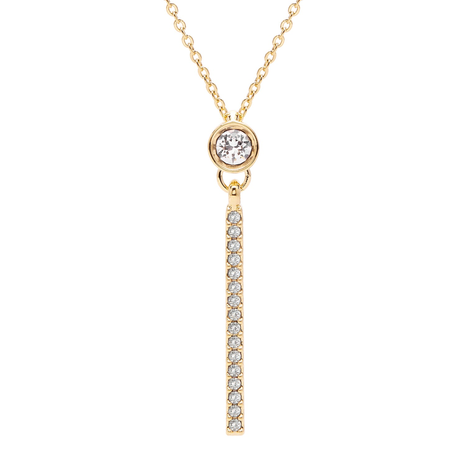 "Aura ""Bar"" 18k Gold Plated Swarovski Crystal Drop Pendant Necklace, 16"" with 2"" extender - Harpson Accessories"