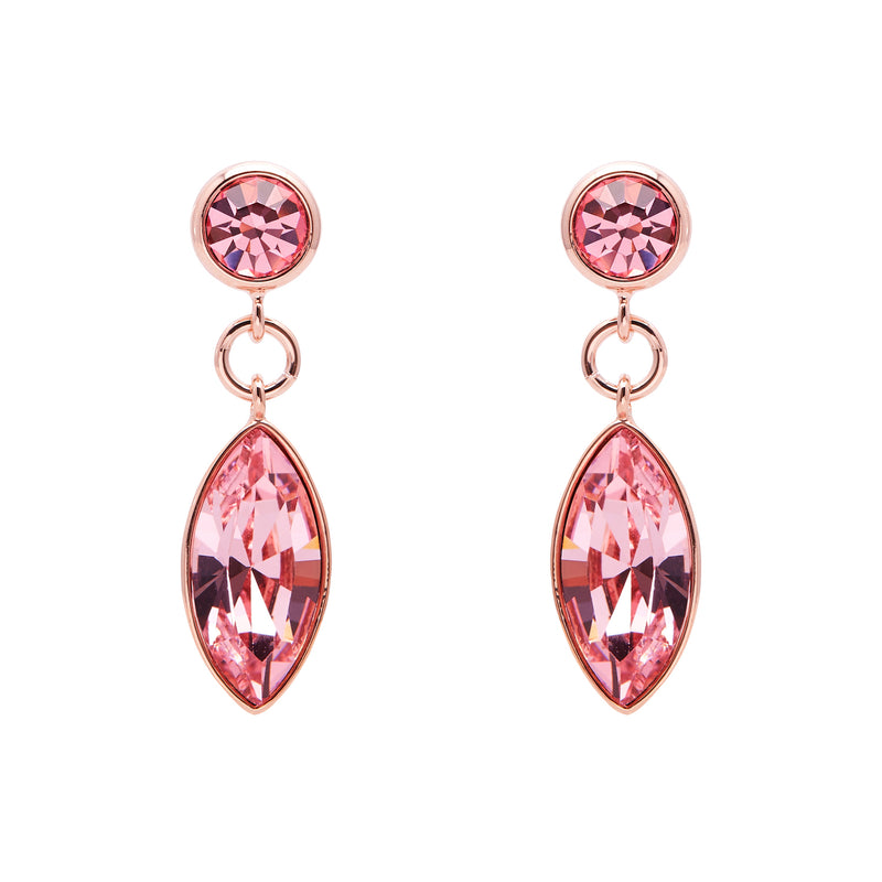"Aura ""Chandelier"" 18k Rose Gold Plated Light Rose Swarovski Crystal Drop Earrings - Harpson Accessories"