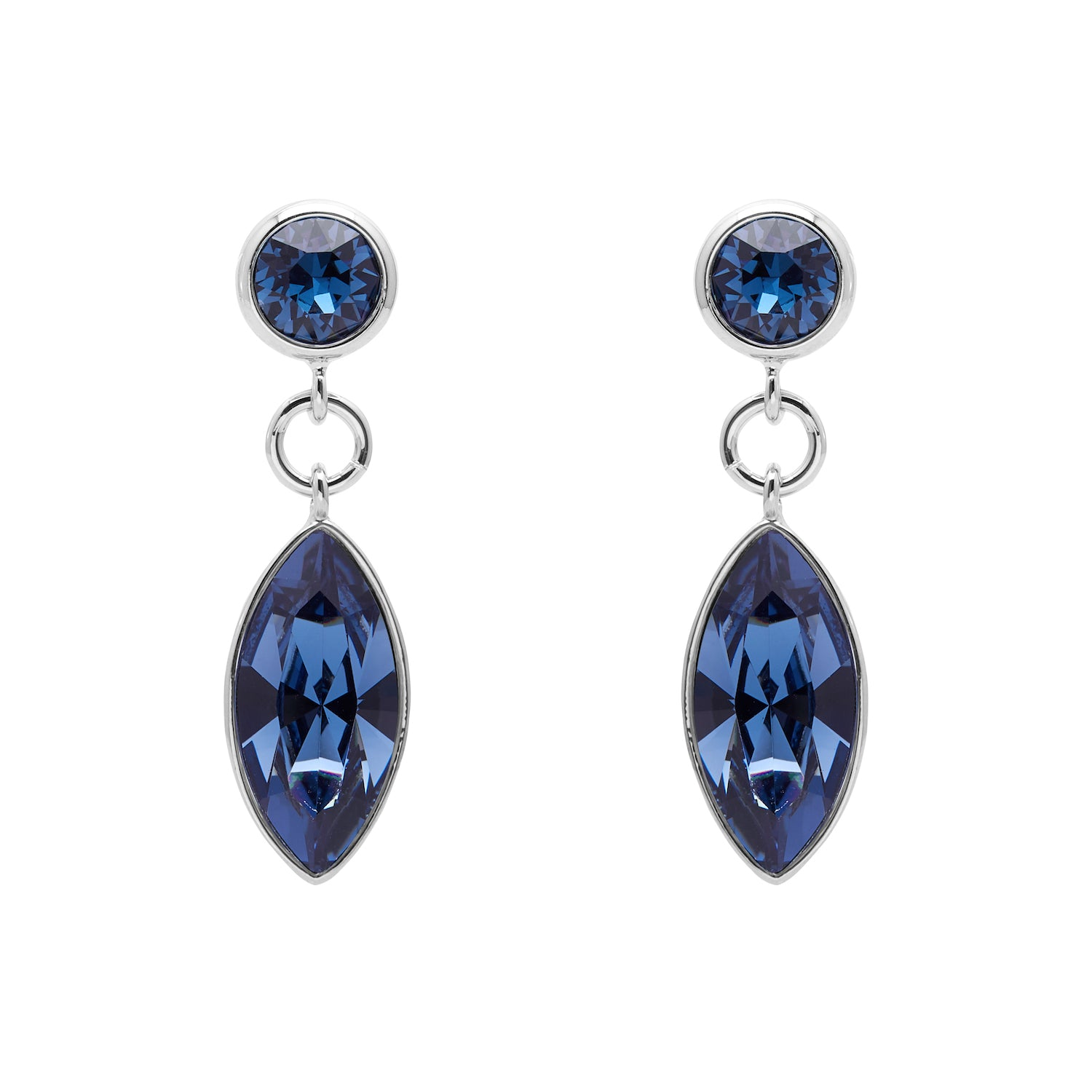 "Aura ""Chandelier"" 18k White Gold Plated Montana Swarovski Crystal Drop Earrings - Harpson Accessories"