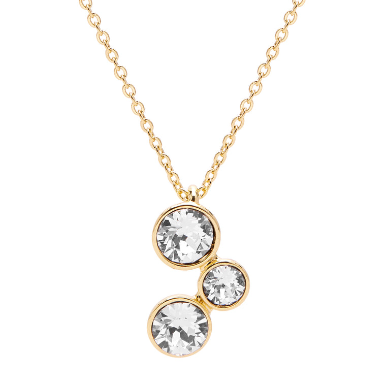 Aura 18k Gold Plated Pendant Necklace with 3 Crystals from Swarovski¨