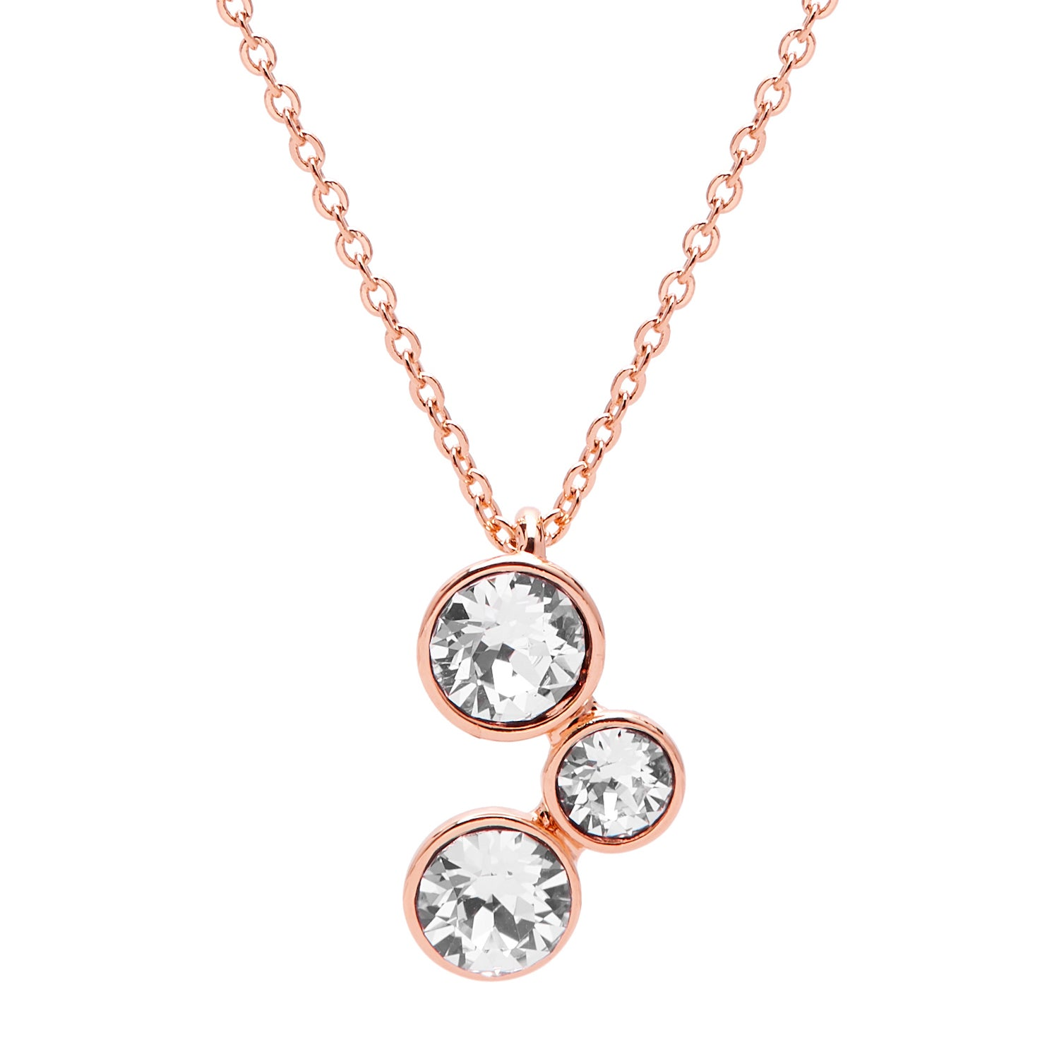 "Aura ""Athena"" 18k Rose Gold Plated Swarovski Crystal Pendant Necklace, 16"" with 2"" extender - Harpson Accessories"