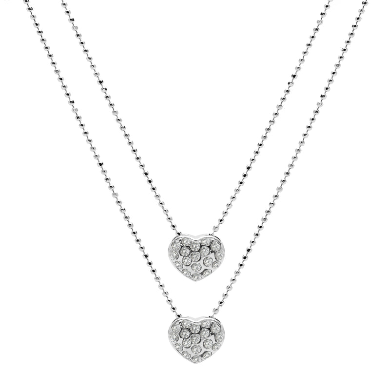 Aura 18k White Gold Plated Double Layered Necklace with Crystals from Swarovski¨ - Harpson Accessories