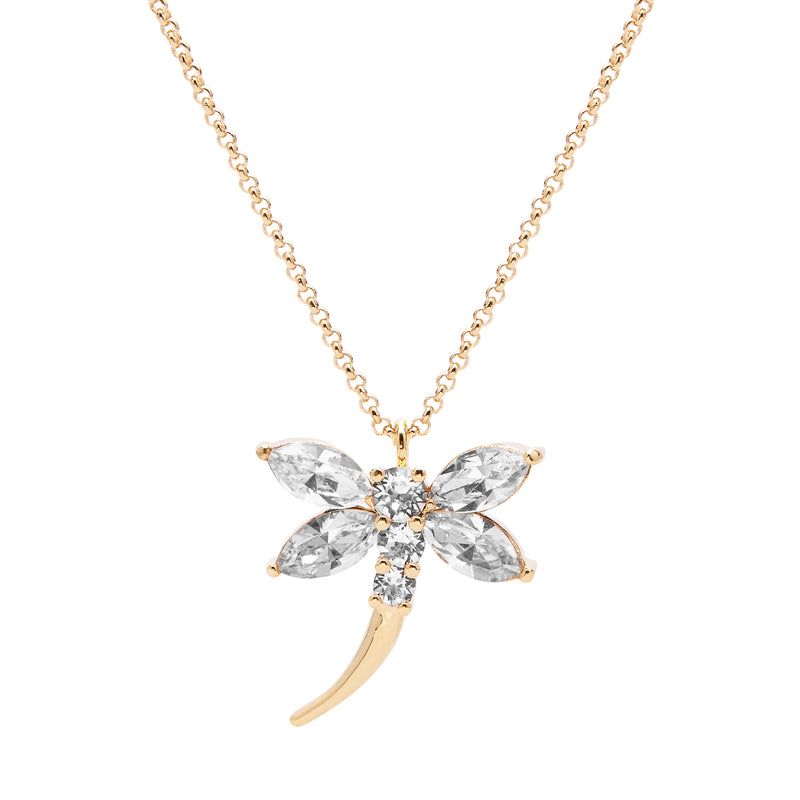 "Aura ""Dragonfly"" 18k Gold Plated Swarovski Crystal Pendant Necklace, 19.5"" with 2"" extender - Harpson Accessories"