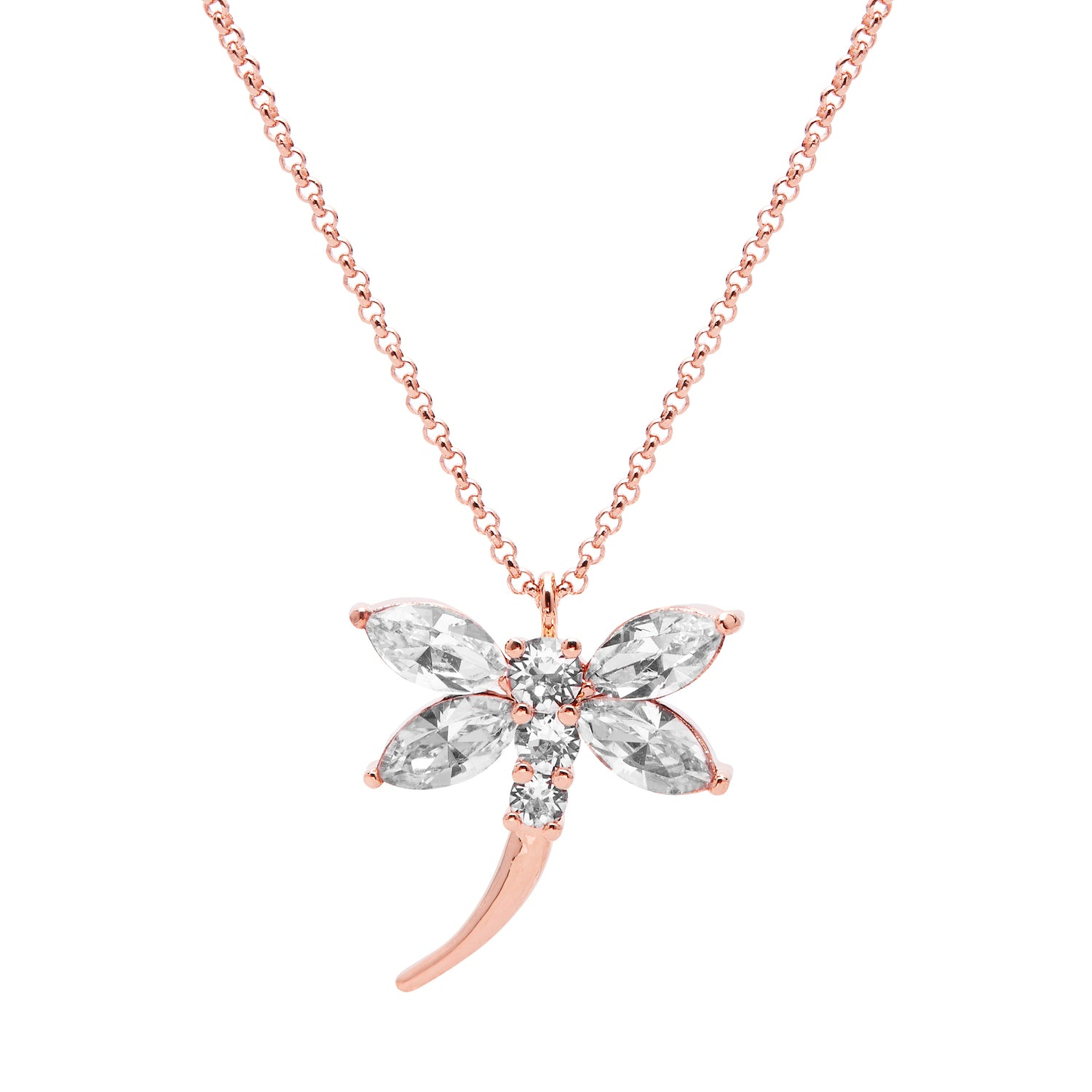 "Aura ""Dragonfly"" 18k Rose Gold Plated Swarovski Crystal Pendant Necklace, 19.5"" with 2"" extender - Harpson Accessories"