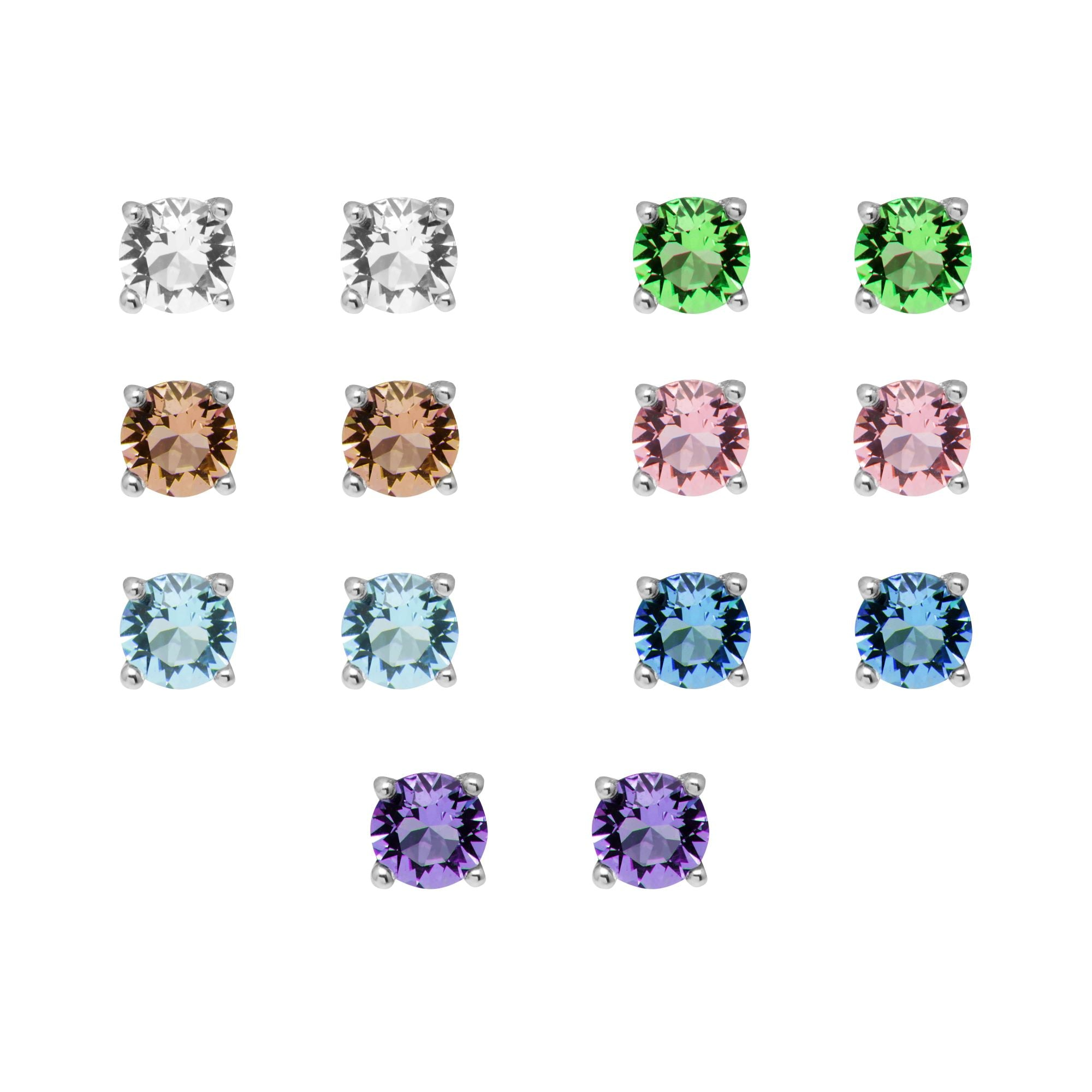 Aura Silver plated set of 7 Swarovski crystal earrings - Harpson Accessories